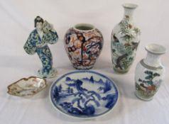 6 Japanese ceramics inc vases,