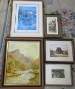 Various prints & an oil on board of a rural landscape