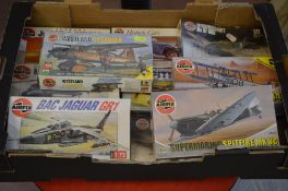 Various Airfix model kits including BAC Jaguar GR1 & Westland Lysander