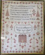 Framed Victorian Sampler by Frances Newton aged 11 dated 1847 45 cm x 55 cm (size including frame)
