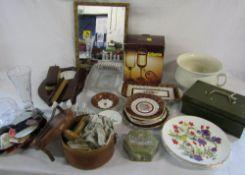 Selection of ceramics and glassware etc inc Royal Albert, sewing kit,