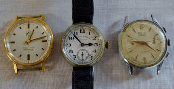 3 vintage watches (AF): Bulova Accutron, Ticin Incabloc & a West End Watch Co.