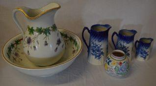 Late Victorian wash bowl & jug, Poole Pottery vase & 3 graduated jugs