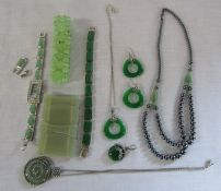 Selection of jade effect jewellery inc silver