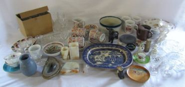 2 boxes of various ceramics and glassware etc inc Wedgwood, onyx & Delft