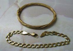 9ct gold bangle and bracelet (both af) total weight 10 g
