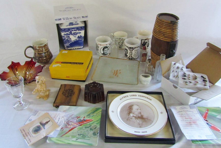 Lot 12 - Assorted ceramics and glassware etc inc fishing flys, Red Arrows plates & Ringtons