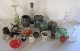Assorted ceramics and glassware inc Wedgwood biscuit barrel, Royal China Works Worcester & Wade