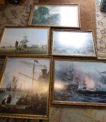 5 large framed maritime prints etc