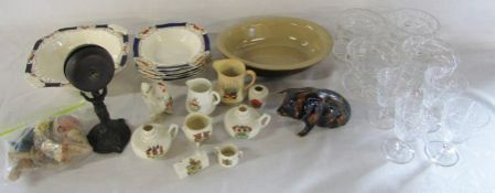 Various ceramics and glassware etc inc crested china & Alfred Meakin