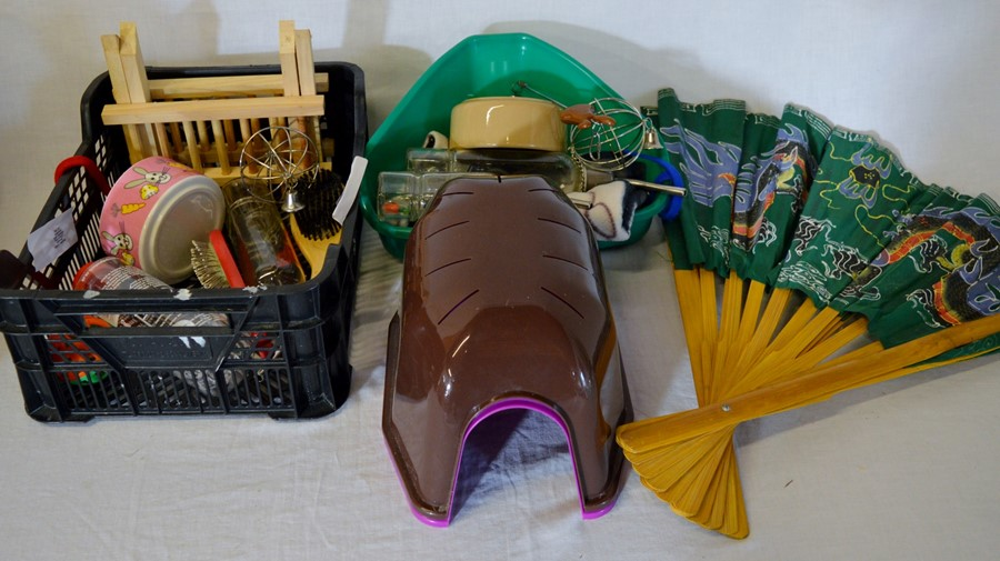 Lot 24 - Various pet related items & a large Oriental fan