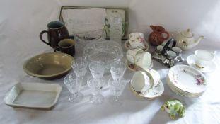 Various glassware and ceramics inc Royal Crown Derby, Royal Albert & Denby