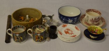 Pair of 19th century pearlware mugs with playing card design, Aynsley cup & saucer etc