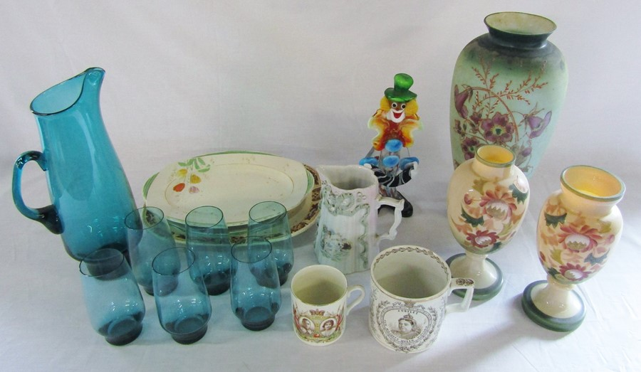 Lot 15 - Selection of ceramics and glassware inc Murano style clown