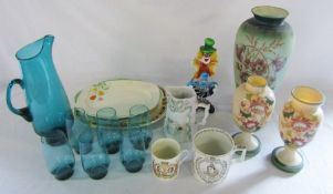 Selection of ceramics and glassware inc Murano style clown