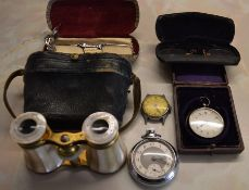 Lemaire Paris mother of pearl opera glasses, ladies Swiss silver fob watch AF, Smith's gents