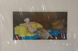 W. Russell Flint print depicting reclining nude female 57cm x 38cm (unframed)