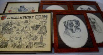 2 Lincolnshire prints & 7 framed dog prints