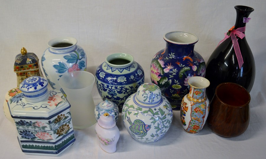 Lot 2 - Various Oriental & other glass & ceramic vases & jars & an anniversary plate (not pictured)