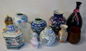 Various Oriental & other glass & ceramic vases & jars & an anniversary plate (not pictured)