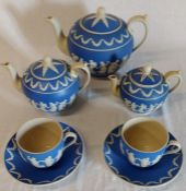 Selection of Copeland Late Spode ware decorated in the Jasper manner (7) (small teapot has crack