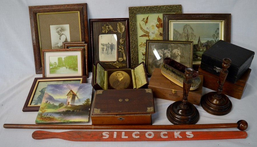 Lot 9 - Joseph Smales walking stick/pencil, pig stick, framed pictures, candlesticks, Victorian hand painted