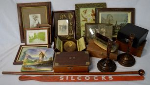 Joseph Smales walking stick/pencil, pig stick, framed pictures, candlesticks, Victorian hand painted