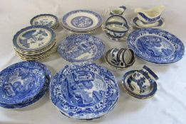 Various blue and white ceramics inc Spode and Booths