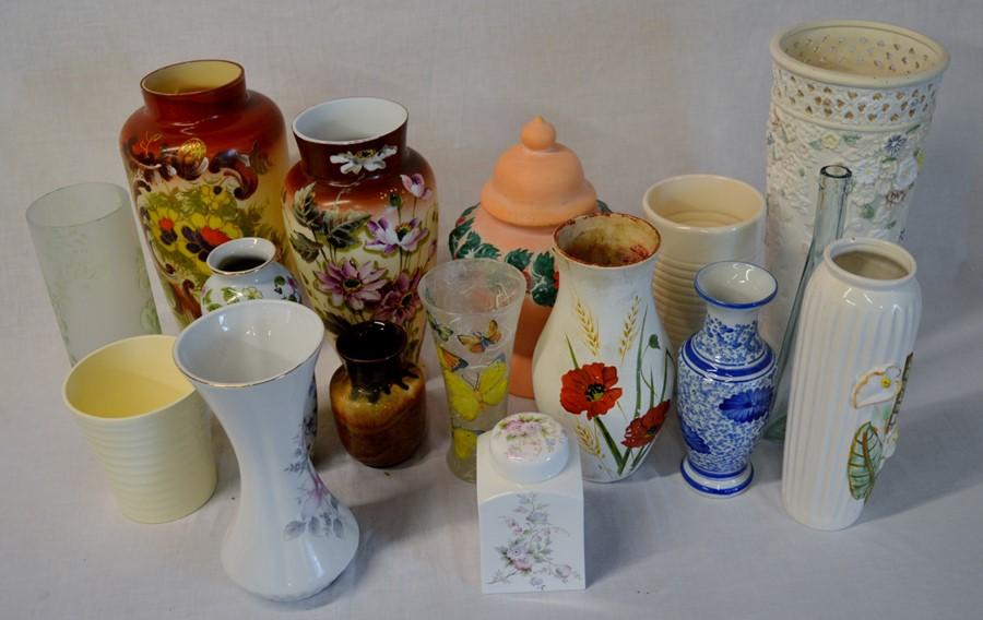 Lot 1 - Various glass & ceramic vases