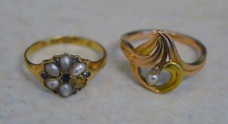 14ct gold ring and an 18ct gold ring set with seed pearls and sapphire (missing one pearl), total