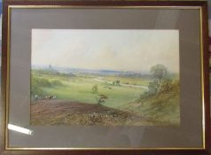 Framed watercolour of a rural scene signed E St John 56.5 cm x 42 cm (size including frame)