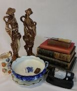 Lot 43 - Boys Own Paper vols 20 and 22, Art Journal Illustrated Catalogue, bread knife, 2 resin figural