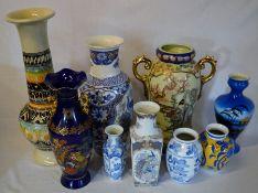 9 Oriental & other ceramic vases