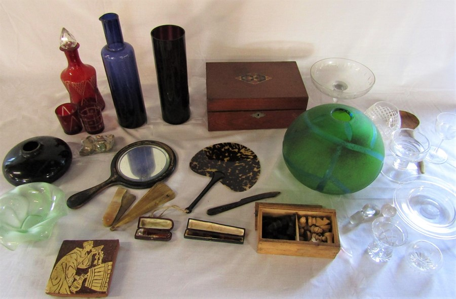 Lot 45 - Various glassware, writing slope (af), coins, dressing table items, cheroot holder with silver cuff,