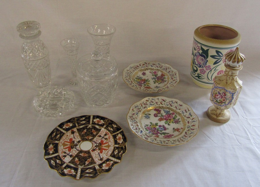 Lot 44 - Assorted glassware and ceramics inc Continental porcelain ribbon plates, Poole & Royal Crown Derby