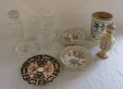Assorted glassware and ceramics inc Continental porcelain ribbon plates, Poole & Royal Crown Derby