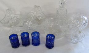 Box of assorted cut glass inc decanter and baskets