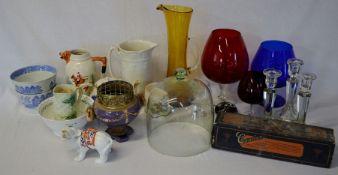 Various glass & ceramic wares including oversize brandy glasses, candlesticks etc