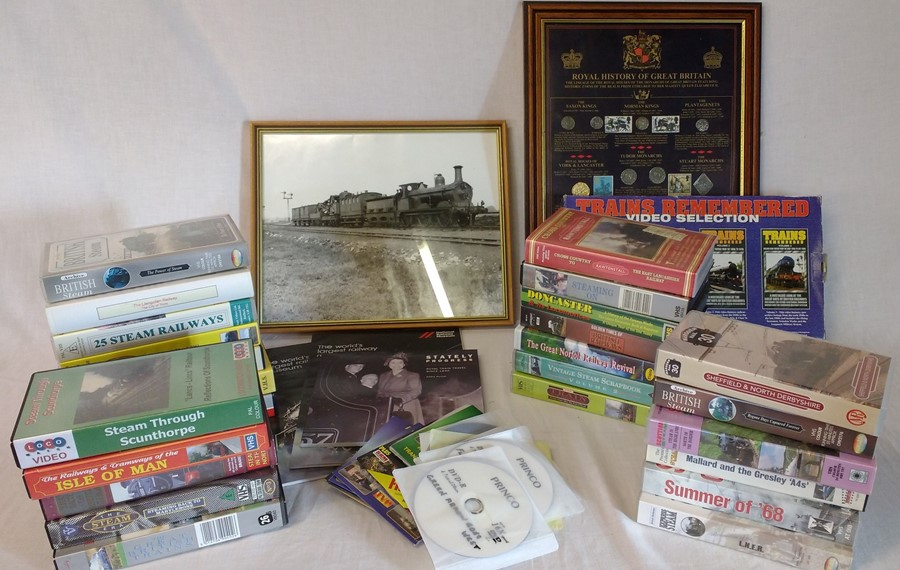 Lot 18 - Quantity of railway VHS videos and DVDs, framed Royal History of Great Britain Sterling