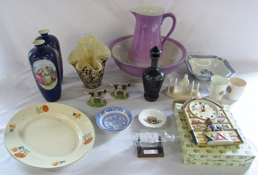 Lot 14 - Various ceramics and glassware inc Wade championship series, toilet set, clock & Venetian purple