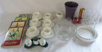 Selection of glassware, cigarette card albums and ceramics inc Shelley & Denby