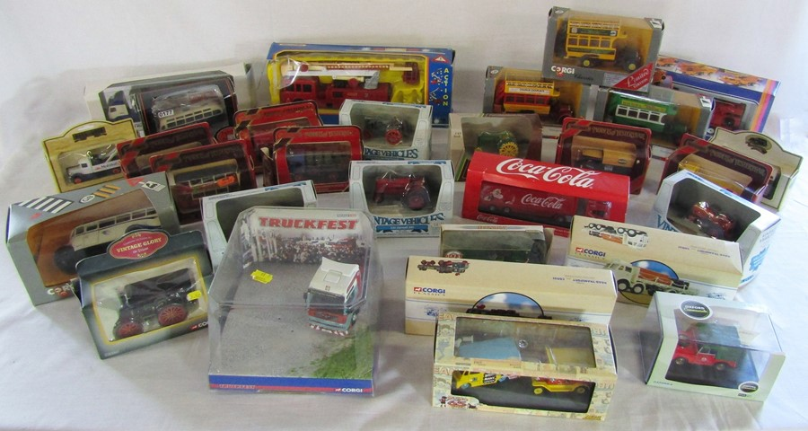 Lot 39 - 2 boxes of assorted boxed die cast cars inc Lledo, Corgi and Days Gone