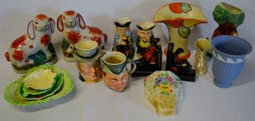 Various ceramics including pair of Staffordshire style rabbits, character jugs, Carltonware