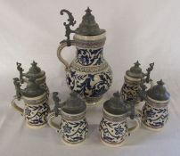 Large late 19th / early 20th century German Merkelbach & Wick stein H 34 cm together with 6