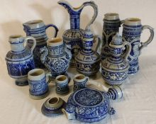 12 pieces of German stoneware including Gerz