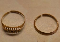 Scrap gold - 22ct gold band 1.1g & an 18ct gold ring 1.0g (both cut)