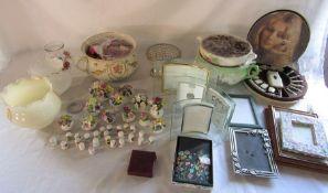 Various ceramics inc Coalport and Aynsley, photo frames etc