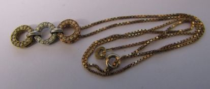 9ct gold necklace with 3 colour gold and diamond chip pendant total weight 4.2 g