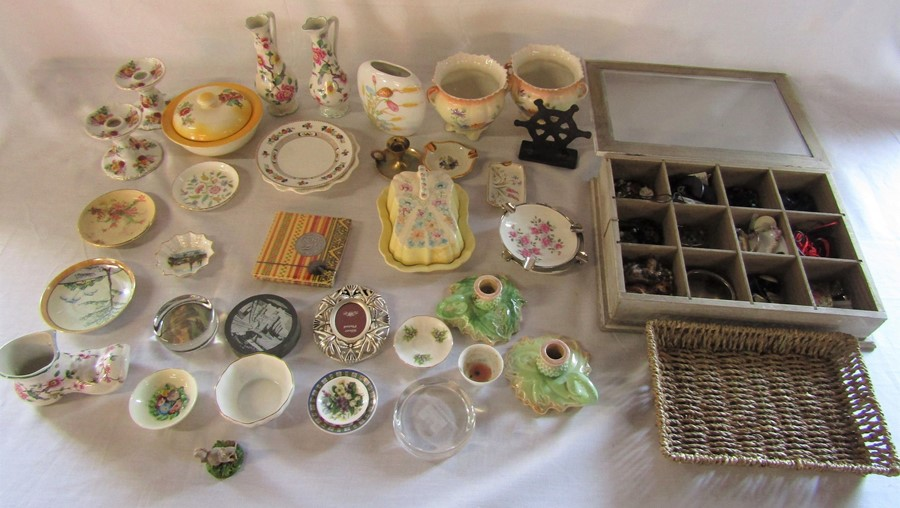 Lot 51 - Various ceramics inc Sylvac, Minton & Royal Crown Derby and box of costume jewellery