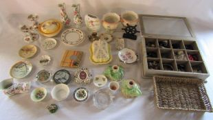 Various ceramics inc Sylvac, Minton & Royal Crown Derby and box of costume jewellery